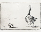 original etching of a mother goose and gosling