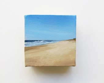 original mini oil painting of the beach and sea