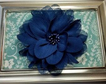 "4"" Navy Blue Chiffon Flower with Beaded Center- Hair Flower"