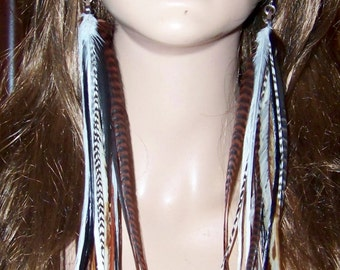 Long Feather Earrings, Feather Earrings, Natural brown feather earrings, Long Skinny Feathers, Feather Long Earrings, Natural Feathers