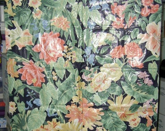 Vintage English Cloth Fabric Material Sample - Red & Blue Flowers on a Black Background