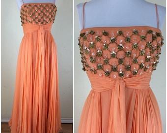 Vintage 1960s Orange Chiffon Gold Beaded Gown - Helena Barbieri Original Dress - size M