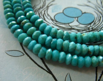 Shop Sale.. 10 25 50 pcs, SLEEPING BEAUTY Turquoise  Rondelle Beads, Luxe AAA, 3.25-4 mm, Natural Untreated, aqua robins egg blue solo