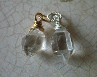 HERKIMER DIAMOND Pendant Charm Add a Dangles Drop / Gift for Her Gift Under 10 / Sterling Silver or 14k Gold Wire Wrapped Pendant gd17 solo