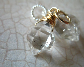 Shopl Sale..  HERKIMER DIAMOND Pendant Charm Add a Dangles - 14k Gold Filled or Sterling Silver, gemdone gd17