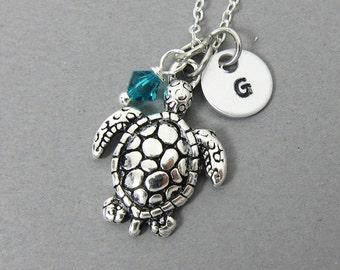 Sea Turtle Necklace - Personalized Initial Name, Customized Swarovski bicone crystal birthstone