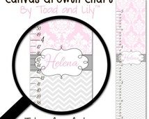 Canvas GROWTH CHART Pink and Grey Chevron and Damask Girls Bedroom Baby Nursery Wall Art Personalized Canvas Growth Chart