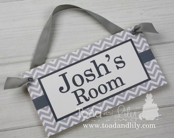 Grey Chevron Boys Door Sign Bedroom Baby Nursery Kids Bedroom DOOR SIGN Wall Art - or You Choose the Colours DS0138