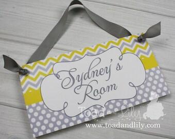 Personalized DOOR SIGN Yellow and Grey Chevron Sign Kids Bedroom Plaque Baby Nursery Bedroom Door Sign Personalized Name Hanger DS0114
