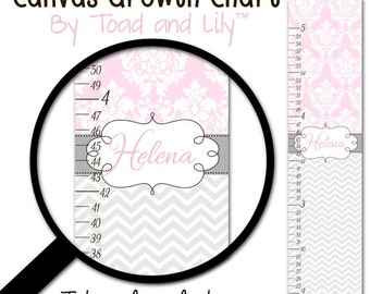 Canvas GROWTH CHART Pink and Grey Chevron and Damask Girls Bedroom Baby Nursery Wall Art Personalized Canvas Growth Chart GC0214