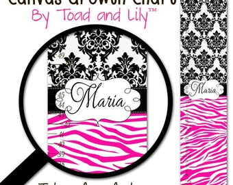Canvas GROWTH CHART Hot Pink and Black Zebra Print and Damask Girl Bedroom Baby Nursery Wall Art Personalized Canvas Growth Chart GC0219