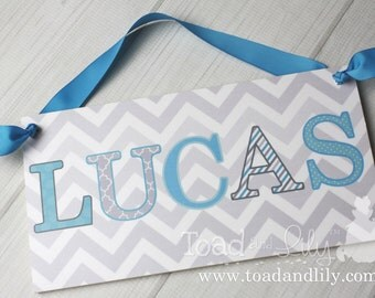 Grey and Aqua Blue Chevron Patterned Letters Boys Nursery Children's Bedroom DOOR SIGN Wall Art DS0345