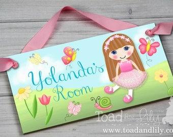 Dolly in the Garden Brunette Girl Flowers Butterflies Girls Bedroom Baby Nursery DOOR SIGN Wall Art DS0187