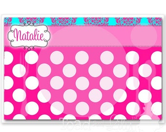 Kids PLACEMAT Turquoise Hot Pink Damask Children's Personalized Wipe-able Place Mat Learn to Set the Table Laminated Kids Placemat with Name