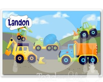 Kids PLACEMAT Bright Construction Children's Personalized Wipe-able Place Mat Learn to Set the Table Laminated Kids Placemat with Name
