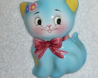 Vintage Norcrest Anthropomorphic Blue Turquoise Kitty Cat Kitten Wall Pocket Planter PY Japan CT-11 Retro Kitsch