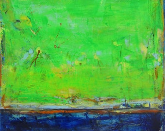 Green Original Abstract Landscape Painting Modern Contemporary Art, 24 x 24 inches
