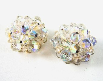 Vintage AB Crystal Clip On Earrings Bridal Wedding Bride