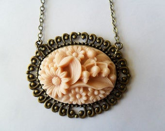 Pale Pink Flower Cabochon Necklace , vintage inspired