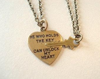 Heart and Key Necklace Couple Necklace Set Unlock My Heart Necklace Brass Heart and Key Necklace Boyfriend Girlfriend Necklace
