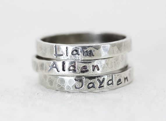 personalized stack ring sterling silver by christinaguenther