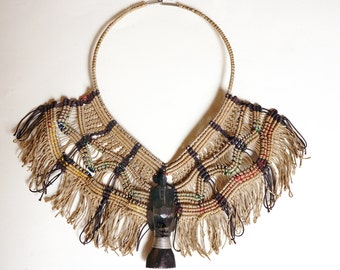 Unusual vintage crochet bib necklace with mask from Kenya, Africa