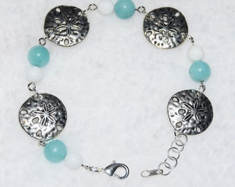 Blue, white, silver sand dollar bracelet