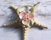 Seashell  Pearl Wrist Corsage Bracelet - Pink Seaflower
