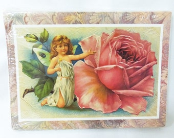 Greeting card fairy with rose wing 18 cards 18 envelops sealed