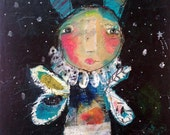 Sparkle - an Original Mixed Media Painting 11x14 on Canvas by Juliette Crane