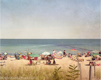Summer Beach Photography, Beach Decor, Ocean Photograph, Seaside Coastal, Martha's Vineyard, Beach Umbrellas Sunbathing, Seaside Beach Art