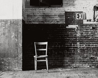 Black and White Photography, Architecture Photo, Abandoned Urban Decay Art, Gray Geometric, Dark Moody, Brick, Exit Sign, Gritty Urbex