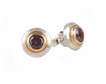 round studs with silver, gold and spinel