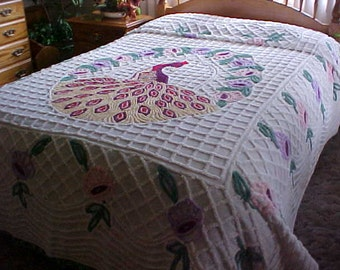 Vintage 1950's Peacock chenille bedspread fits full size bed