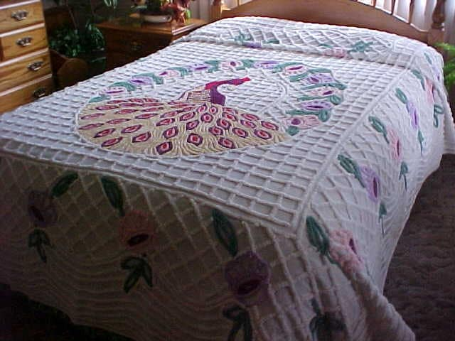 Vintage 1950 S Peacock Chenille Bedspread Fits Full Size