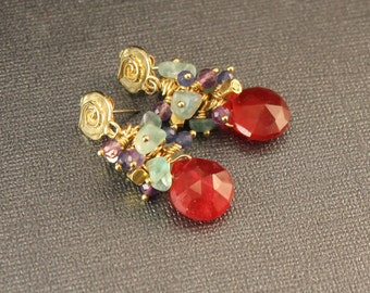 The Carnivale Red Quartz, Aquamarine, Amethyst, Sapphire Jade and Bali Vermeil Beads with Bronze Artisan Spiral Posts Cluster Earrings