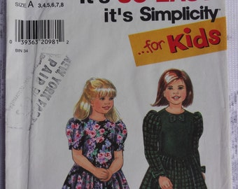 """Simplicity 7916 """"It's So Easy"""" Sewing Pattern Child's Girls' Dress, Easy Dress Pattern, Size 3, 4, 5, 6"""