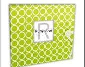 BABY BOOK   Lime Green MOD Circles Album - Baby Memory Book