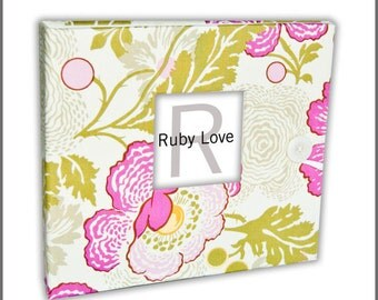 BABY BOOK   Amy Butler Midwest Modern Fresh Poppies Fuchsia Album   Baby Memory Book