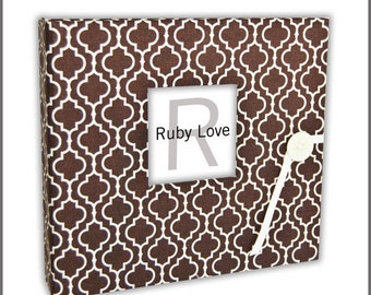 BABY BOOK | Chocolate Brown Moroccan Tiles Baby Book - Modern Baby Memory Book