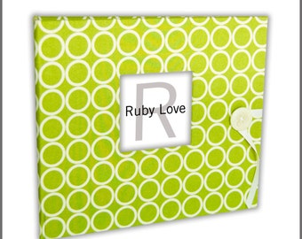 Lime Green MOD Circles Album - Baby Memory Book