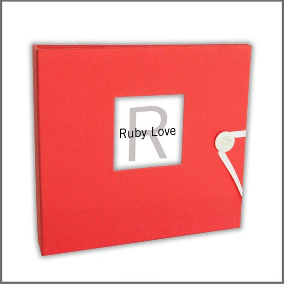 BABY BOOK | Solid Vibrant Coral Album - Ruby Love Modern Baby Memory Book