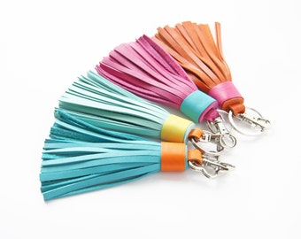 Leather tassel Keychain Bag charm Bridesmaid Gift
