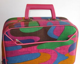 Vintage Travel Suitcase in Psychedelic Colors
