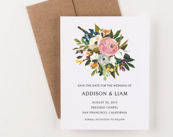 Painted Blooms Save The Date, Pink, Blue and Green, Elegant Wedding Announcement