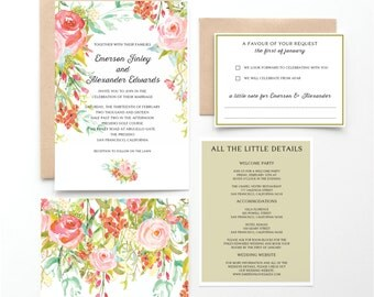 Bohemian Watercolor Wedding Invitation Collection, Pink, Red, Green, Botanical Invitation, Wedding Announcement