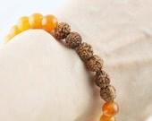 Health and Peace unisex bracelet - Jade and rudraksha