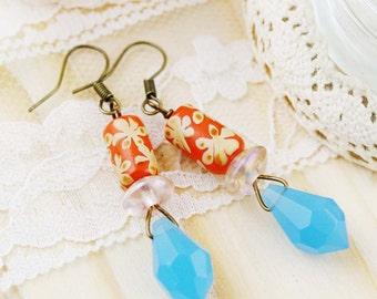 Summer cheer dangle earrings - glass beads