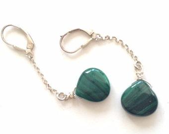 Long Sterling Silver Green Malachite Drop Earring