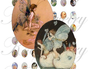 Fairy 13x18mm oval images for charms, pendant, buttons, scrapbook and more Vintage Digital Collage Sheet No.1549